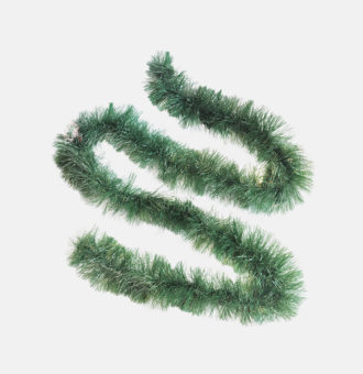 467987 2MX10CM WIDE TINSEL GARLAND GREEN WHITE