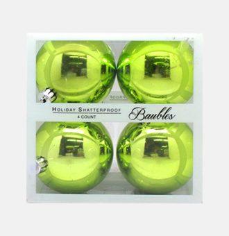 L605AG 80MMX4PCS XMAS BALL SHATTERPROOF SHINY APPLE GREEN